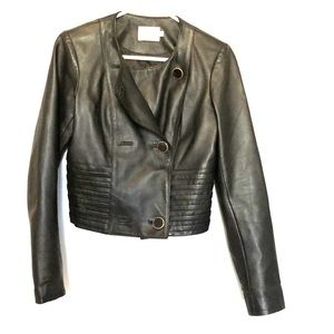 REISS black leather jacket - cropped